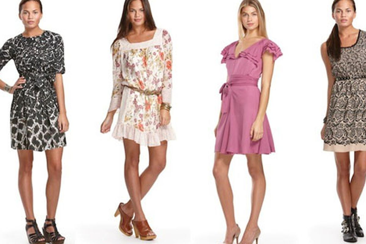 From left, Thakoon, Jovovich-Hawk, Zac Posen, and Rodarte. All dresses and nothing over $50.