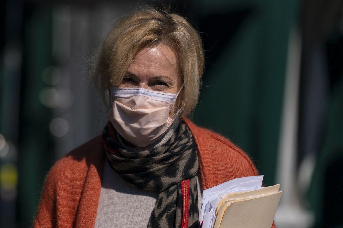 White House Coronavirus Response Coordinator Dr. Deborah Birx walks from a television interview at the White House, Wednesday, Sept. 30, 2020, in Washington.