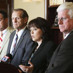 House speaker Becky Lockhart, Rep. Greg Hughes, Rep.  Brad Dee and and Rep. Don Ipson speak to media after a Republican House Caucus meeting  to discuss an Attorney General John Swallow impeachment at the Capitol  in Salt Lake City  Wednesday, June 19, 2013