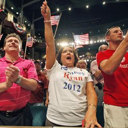 Supporters of Republican vice presidential candidate, Rep. Paul Ryan, R-Wis., cheer during a rally at Christopher Newport University in Newport News, Va., Tuesday, Sept. 18, 2012.