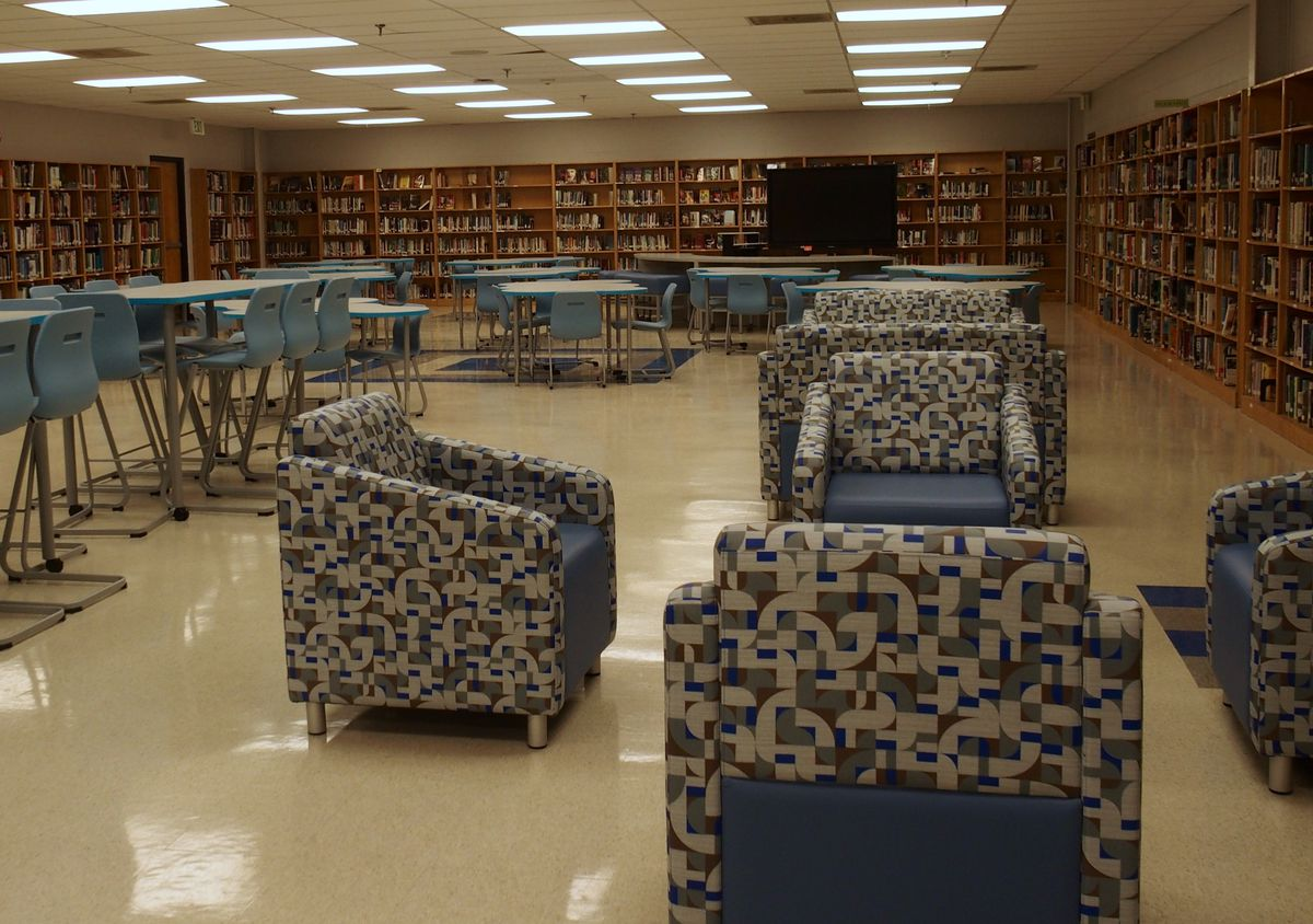 While students were scattered to three locations, Shelby County Schools got new furniture for classrooms and the library shown here.