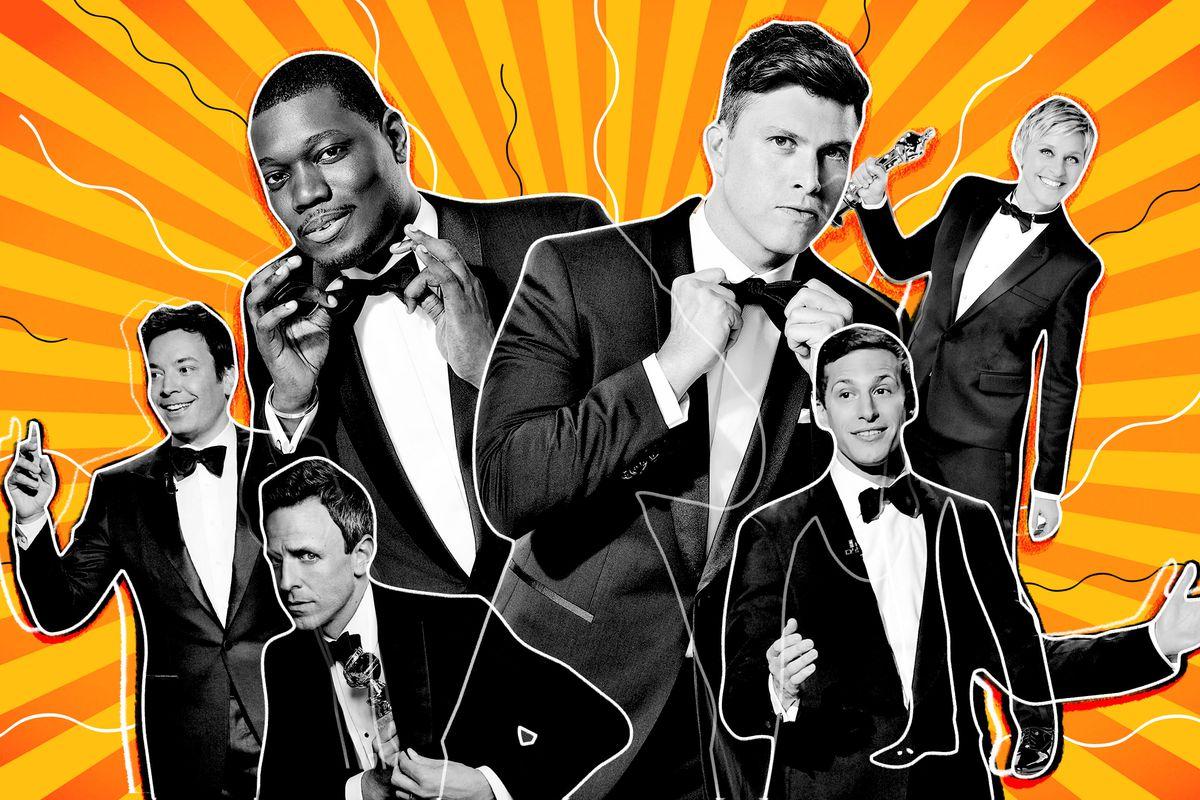 Jimmy Fallon, Michael Che, Seth Meyers, Colin Jost, Andy Samberg, and Ellen DeGeneres, all wearing tuxedos