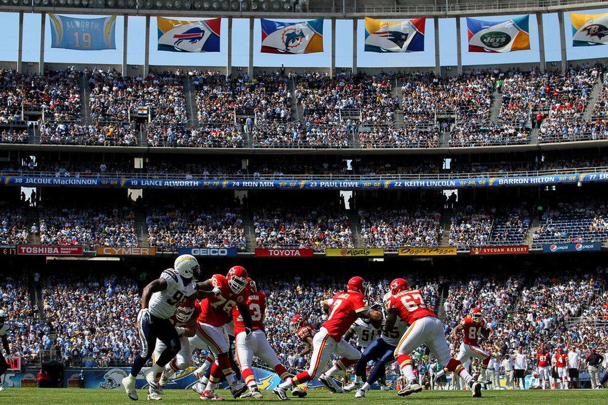Here's a sight most won't see on Sunday: Chargers football.  (Photo by Stephen Dunn/Getty Images)