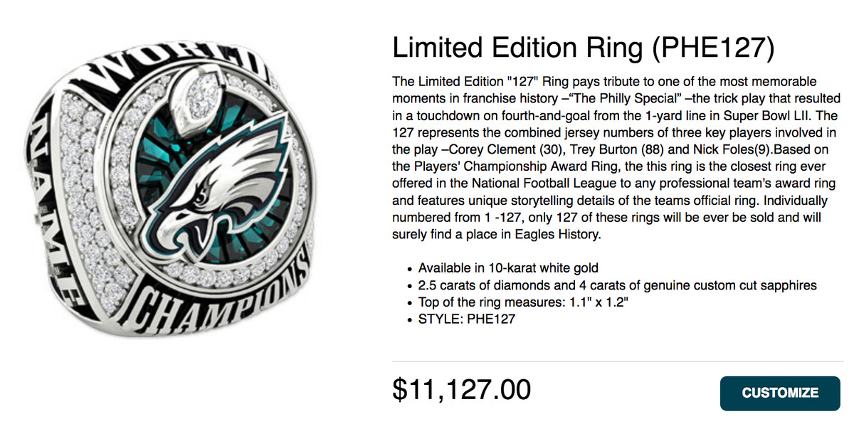 Heres How You Can Get Your Own Eagles Super Bowl Ring Bleeding