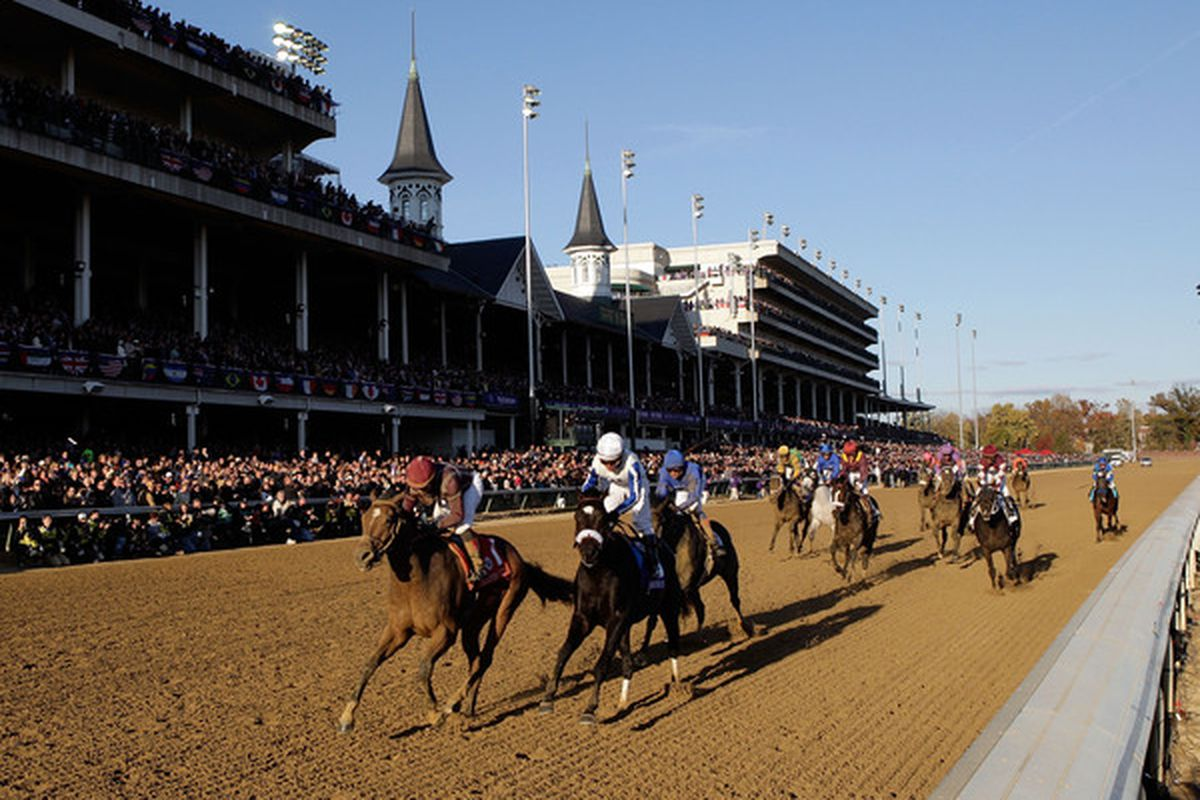 LOUISVILLE KY - NOVEMBER 06:  Joel Rosario aboard Dakota Phone (left  in red)  wins the Dirt Mile during the Breeders' Cup World Championships at Churchill Downs on November 6 2010 in Louisville Kentucky.  (Photo by Andy Lyons/Getty Images)