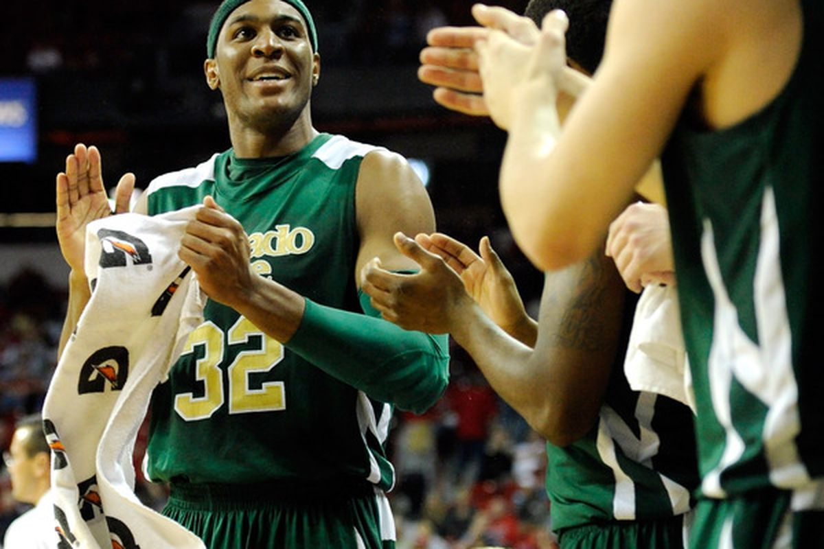 LAS VEGAS NV - JANUARY 19:  Andy Ogide #32 of the Colorado State Rams celebrates on the bench late in the team's 78-63 victory over the UNLV Rebels at the Thomas & Mack Center January 19 2011 in Las Vegas Nevada.  (Photo by Ethan Miller/Getty Images)