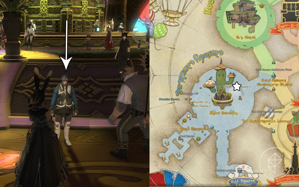 A split map showing an NPC vendor on the left with a map on where they are in front of the main desks in The Gold Saucer on the right