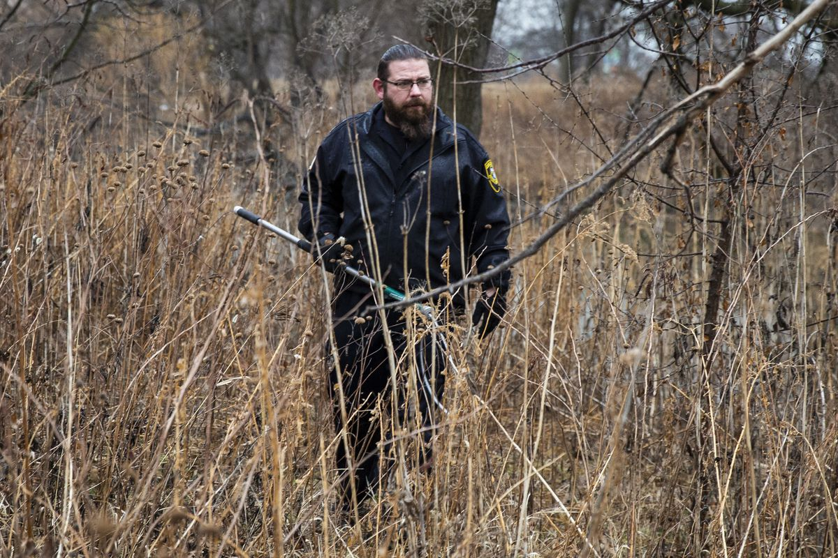 A warden from Cook County Animal Control walks around the Peggy Notebaert Nature Museum in Lincoln Park, catch pole in hand, to look for a coyote den, Thursday morning, Jan. 9, 2020. Two people — including a 6-year-old boy bit multiple times near the museum — were attacked by a coyote in separate incidents Wednesday in Chicago.