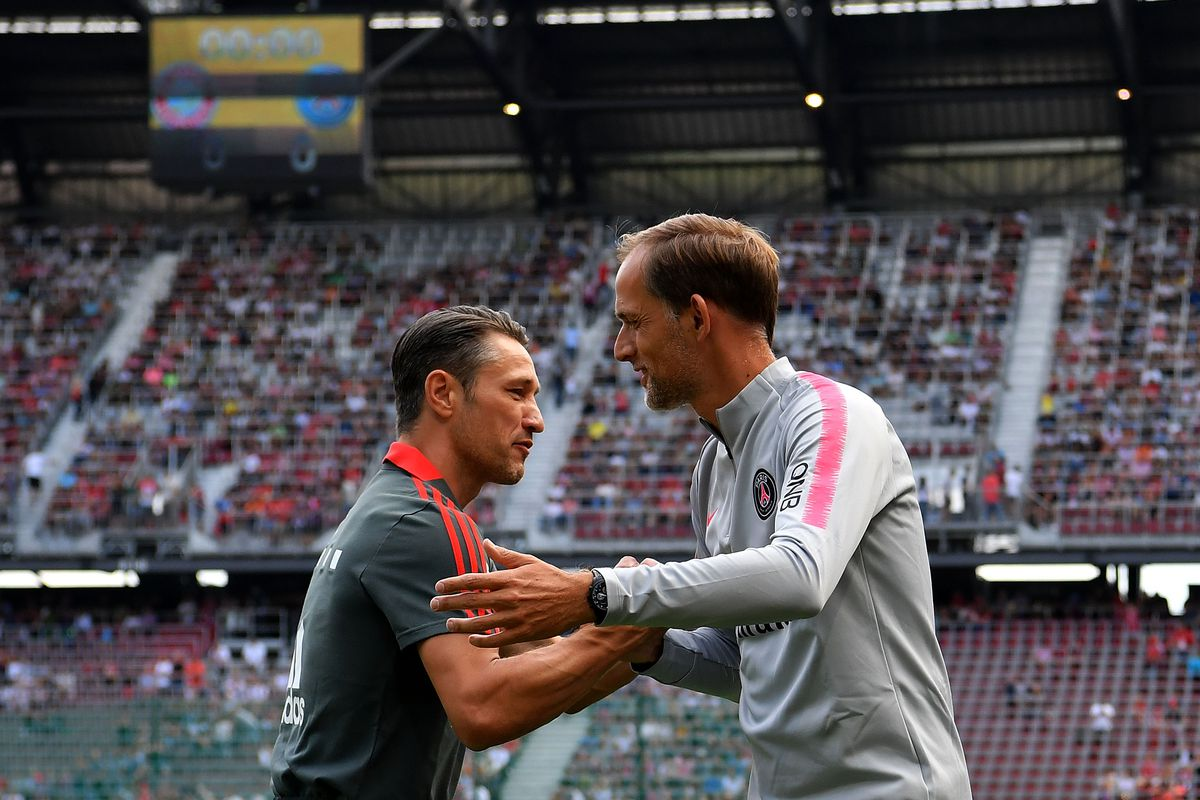 KLAGENFURT, AUSTRIA - JULY 21: Niko Kovac, Manager of Bayern Munich(L) shakes hands with Thomas Tuchel, Manager of PSG prior to kick off during the International Champions Cup 2018 match between Bayern Munich and Paris Saint-German at Worthersee Stadion on July 21, 2018 in Klagenfurt, Austria.
