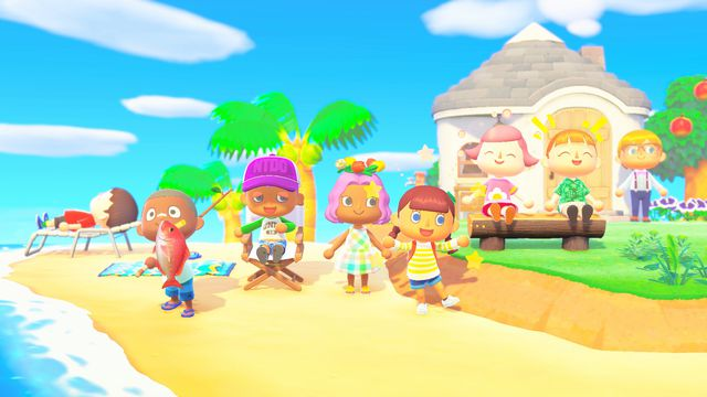 Multiple villagers hang out on a beach in a screenshot from Animal Crossing: New Horizons.