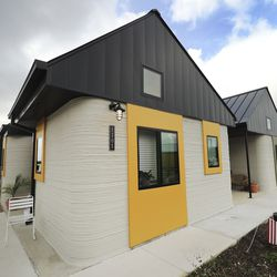3D printed tiny homes at Community First! Village in Austin, Texas, are pictured on Tuesday, Oct. 20, 2020.