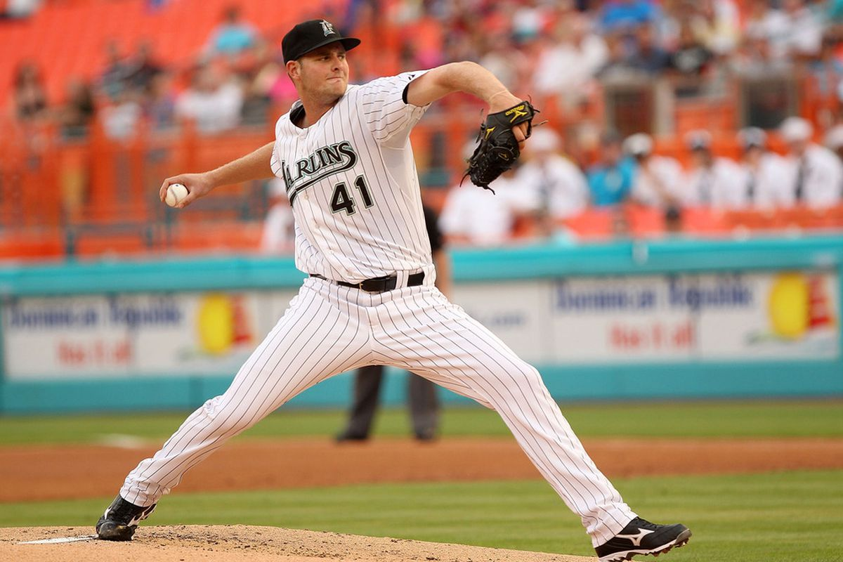 MIAMI GARDENS, FL - APRIL 26:  Chris Volstad #41 of the Florida Marlins pitches during a game against the Los Angeles Dodgers at Sun Life Stadium on April 26, 2011 in Miami Gardens, Florida.  (Photo by Mike Ehrmann/Getty Images)