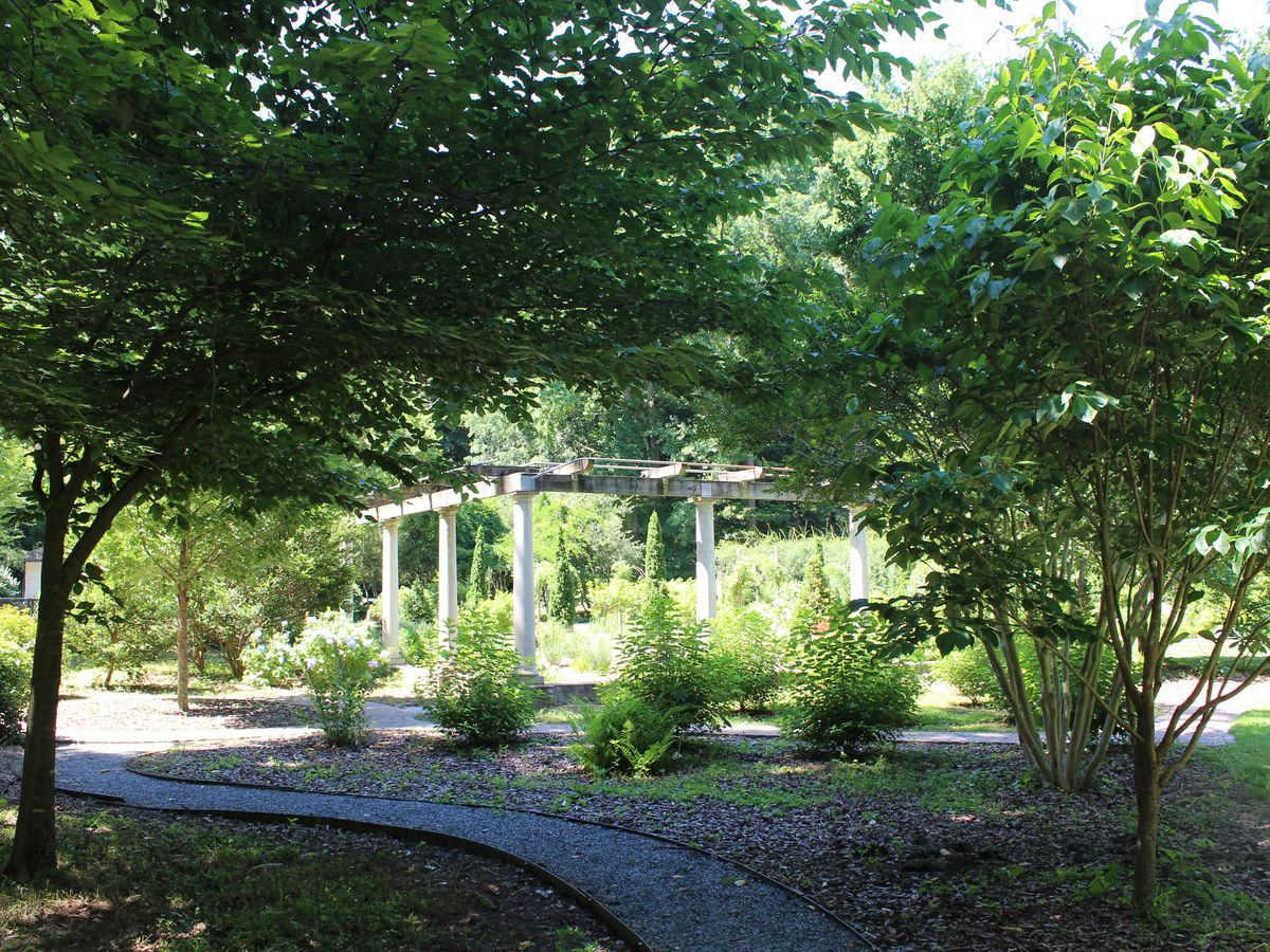 A path leading through a park. There are trees on both sides of the path. There is a white gazebo in the distance.