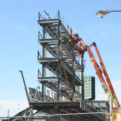 3:51 p.m. Another view of the right field video board structure -