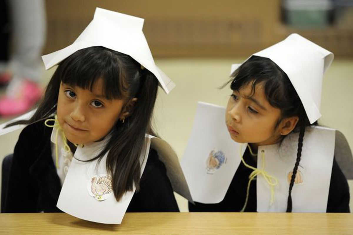Indianapolis kindergartners dressed for a Thanksgiving feast