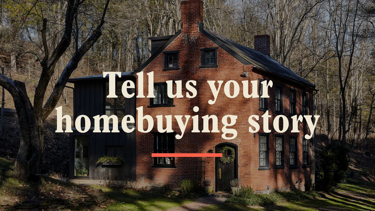 "A brick house is in the shadows surrounded by a bunch of trees. A text is overlaid on the photo that reads, ""Tell us your homebuying story."""