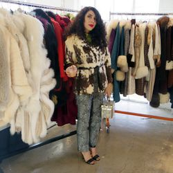 """A fabulous fur-loving shopper at the <a href=""""http://www.bustownmodern.com"""">Bustown Modern</a> booth."""