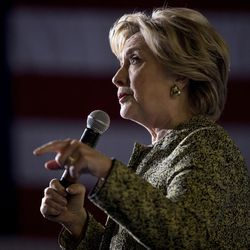 Democratic presidential candidate Hillary Clinton speaks at a rally at the Smith Center for the Performing Arts in Las Vegas, Wednesday, Oct. 12, 2016. (AP Photo/Andrew Harnik)