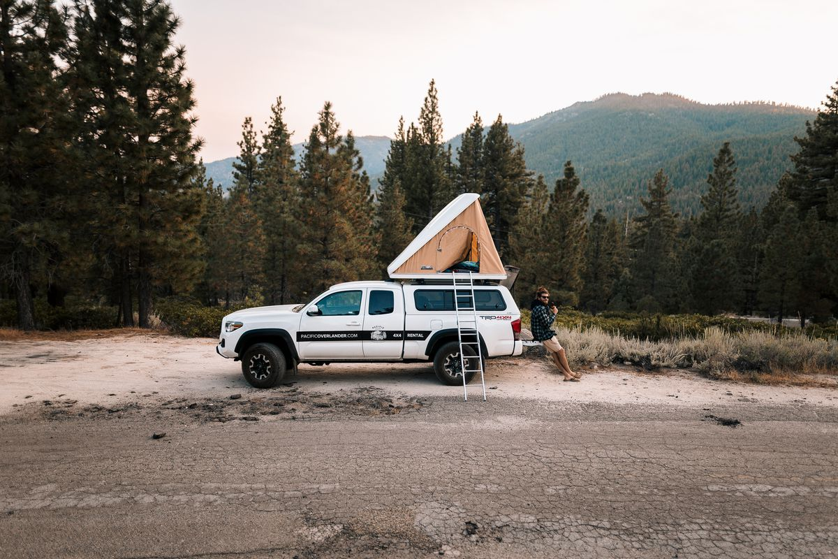 A truck with a rooftop tent sits in the forest