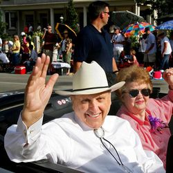 """President Thomas Monson and his wife, Frances, ride in the Days of """"47 Parade on July 24, 2006."""