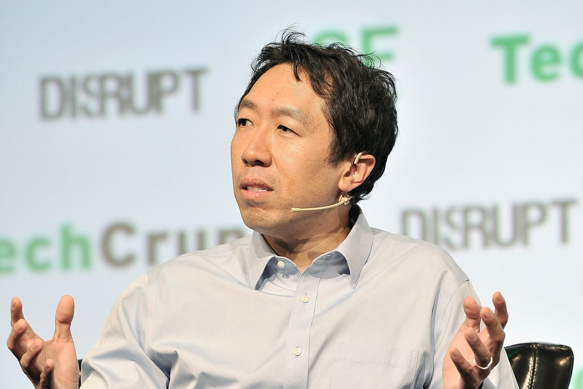 Coursera co-founder and co-chair of the board Andrew Ng speaks onstage at TechCrunch Disrupt.