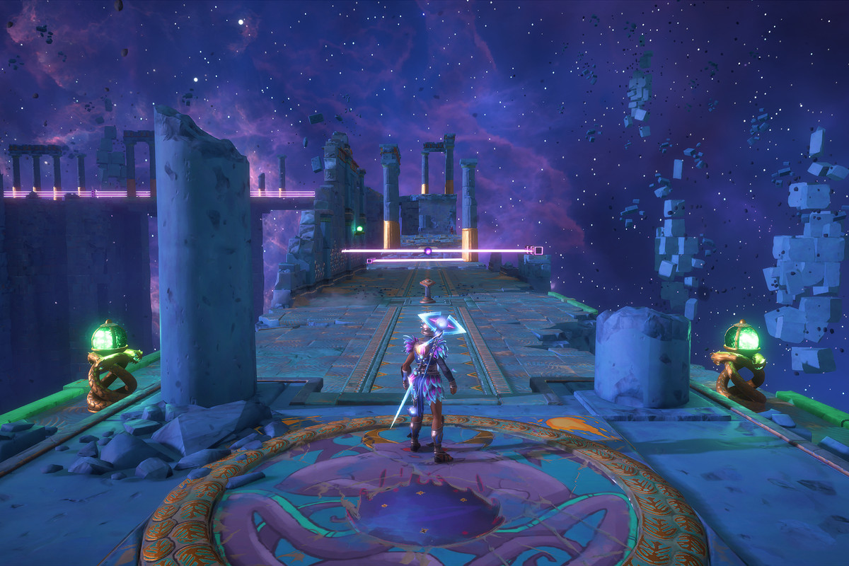 The main character of Immortals Fenyx Rising standing at the entrance of the Avoiding Medusa's Gaze Vaultof Tartaros