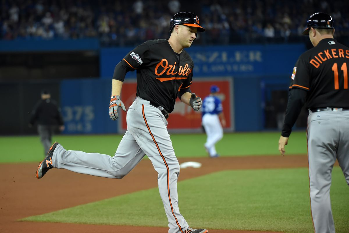 Mark Trumbo rounds third base after hitting a home run in the 2016 AL Wild Card Game.