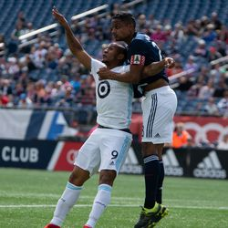 FOXBOROUGH, MA - MARCH 30: New England Revolution defender Michael Mancienne #28 attempts to head the ball during the first half at Gillette Stadium on March 30, 2019 in Foxborough, Massachusetts. (Photo by J. Alexander Dolan - The Bent Musket)