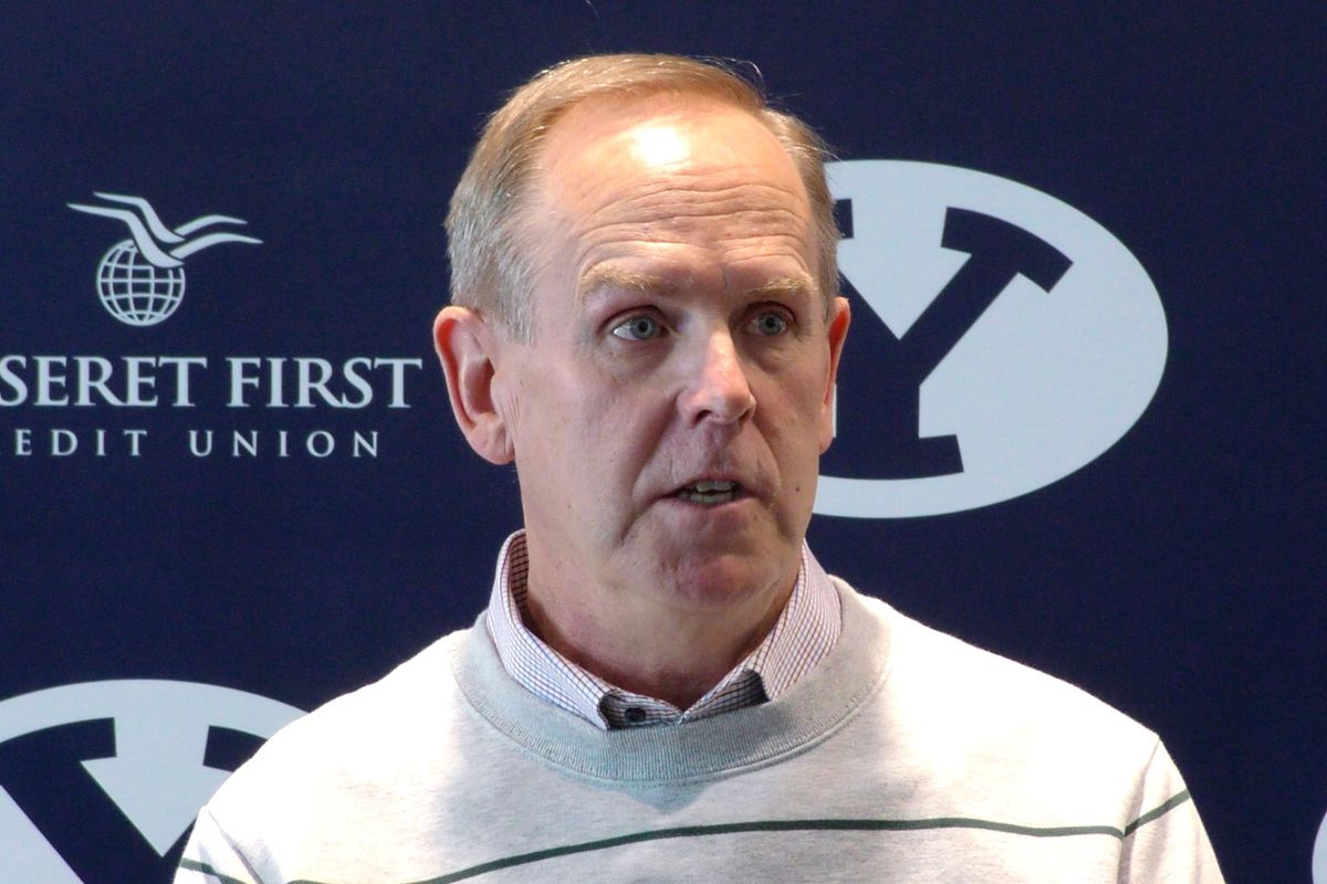 BYU athletic director Tom Holmoe talks with the media during a roundtable discussion on campus Wednesday, Jan. 30, 2019, in Provo.