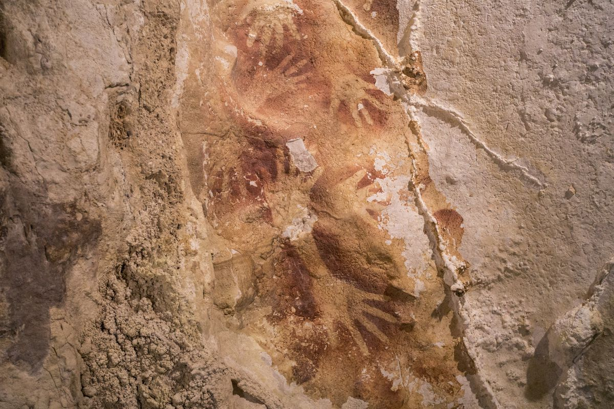 Ancient cave art from Indonesia.
