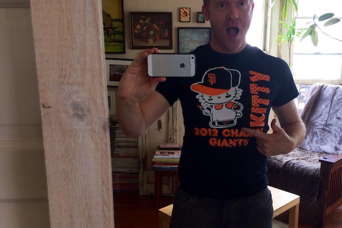 SFist editor Brock Keeling looks fetching in his Hello Kitty/SF Giants tee.
