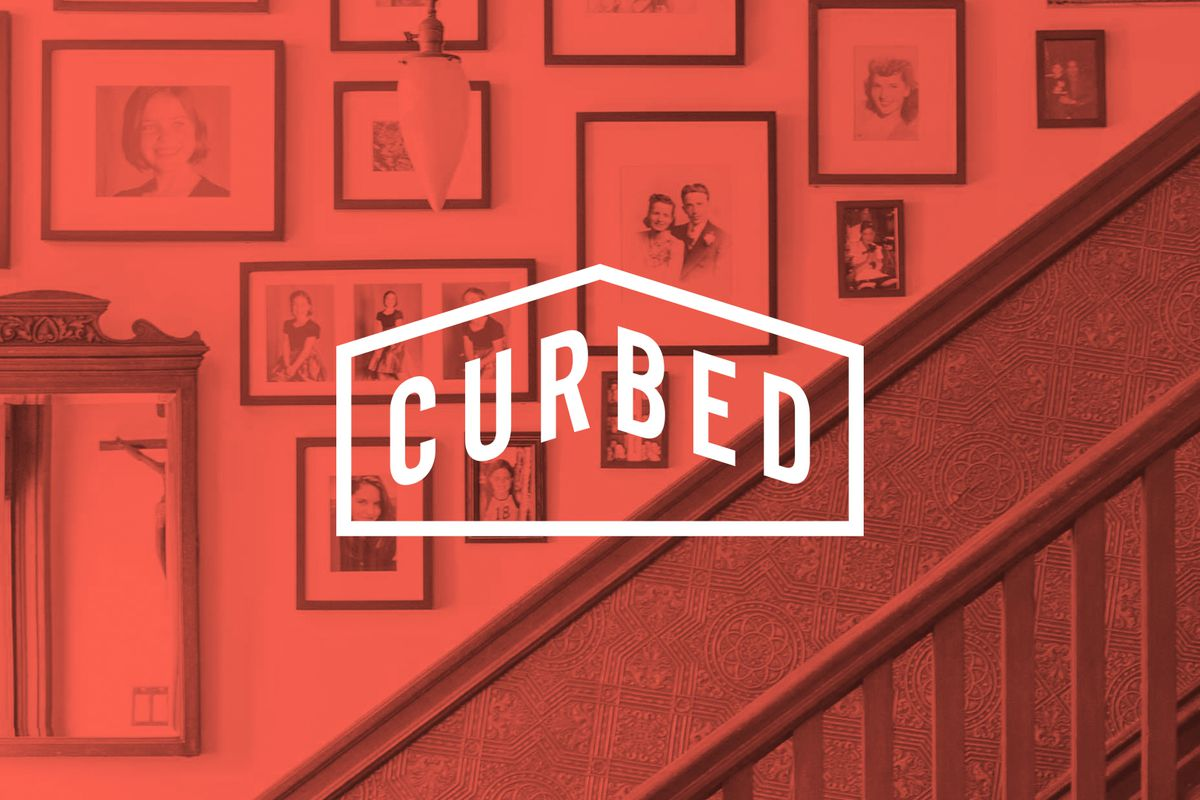 """A graphic with a background photo of a staircase lined with old photographs. The Curbed logo, with the word """"Curbed"""" inside a shape like a simple house, is on top."""