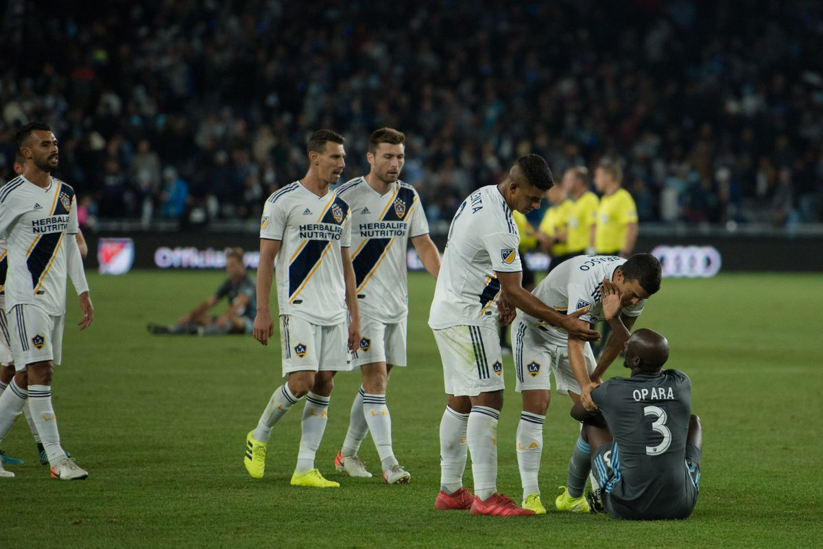 October 20, 2019 - Saint Paul, Minnesota, United States- Galaxy players give respect to Ike Opara after an Audi MLS Cup Playoff match between Minnesota United and The Los Angeles Galaxy at Allianz Field (Photo: Tim C McLaughlin)