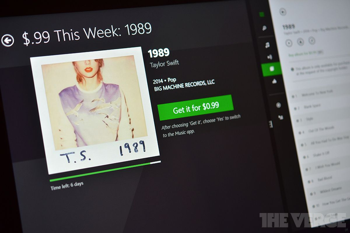 Taylor Swift S New 1989 Album Is Just 0 99 With Microsoft S Music Deals App The Verge