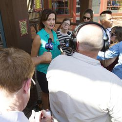 Spokeswoman Erica Hansen talks to the media after Zeya, an Amur leopard, briefly escaped from her enclosure at Hogle Zoo in Salt Lake City on Tuesday, June 7, 2016. The leopard was found sleeping on a ledge just a foot or two away from the enclosure it was supposed to be in. The animal was tranquilized while still asleep and recaptured.