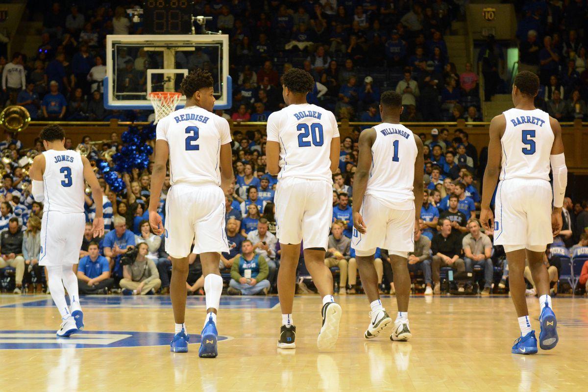 3b5a64d806e Nov 11, 2018; Durham, NC, USA; Duke Blue Devils guard Tre Jones (3) and  forward Cam Reddish (2) and center Marques Bolden (20) and forward Zion  Williamson ...