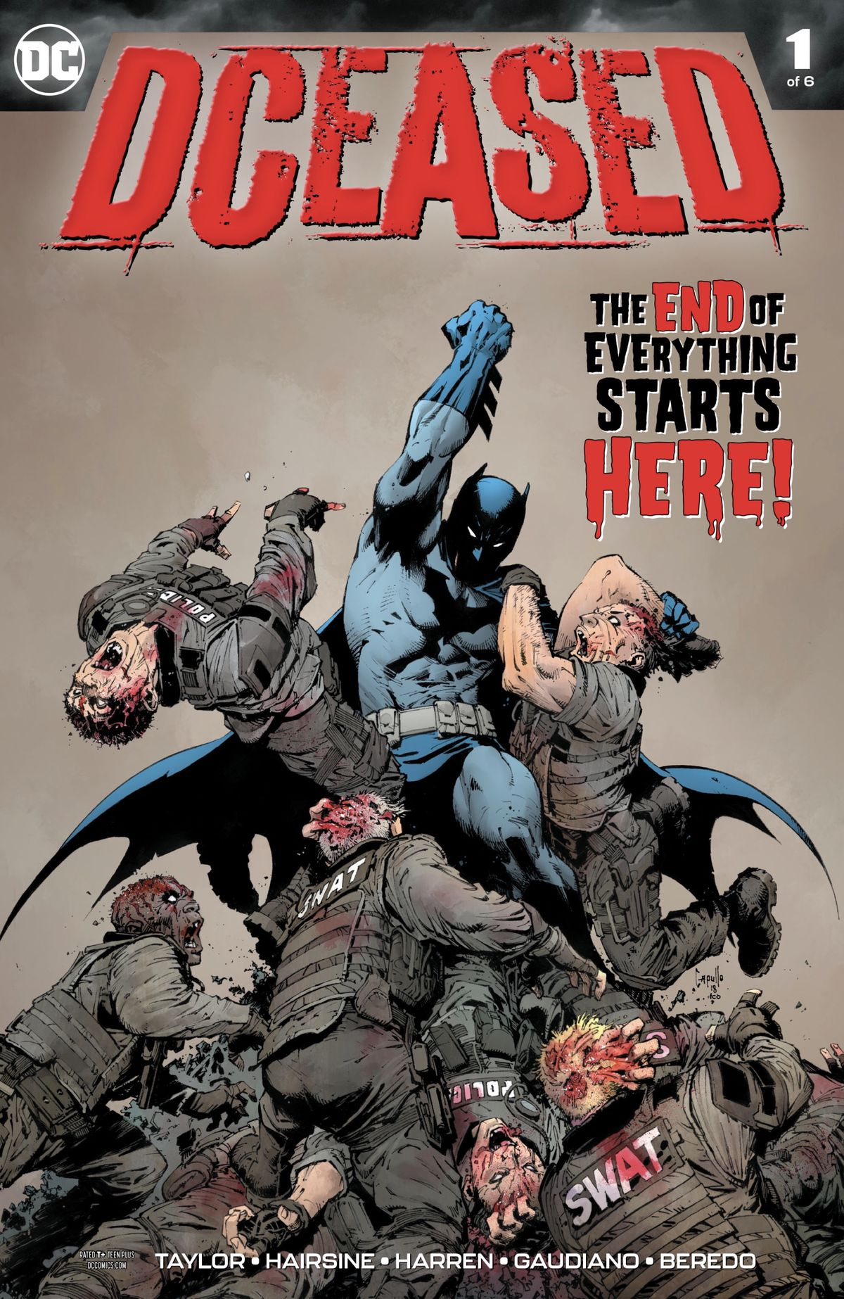 Batman battles against a zombie SWAT team on the cover of DCeased #1, DC Comics (2019).