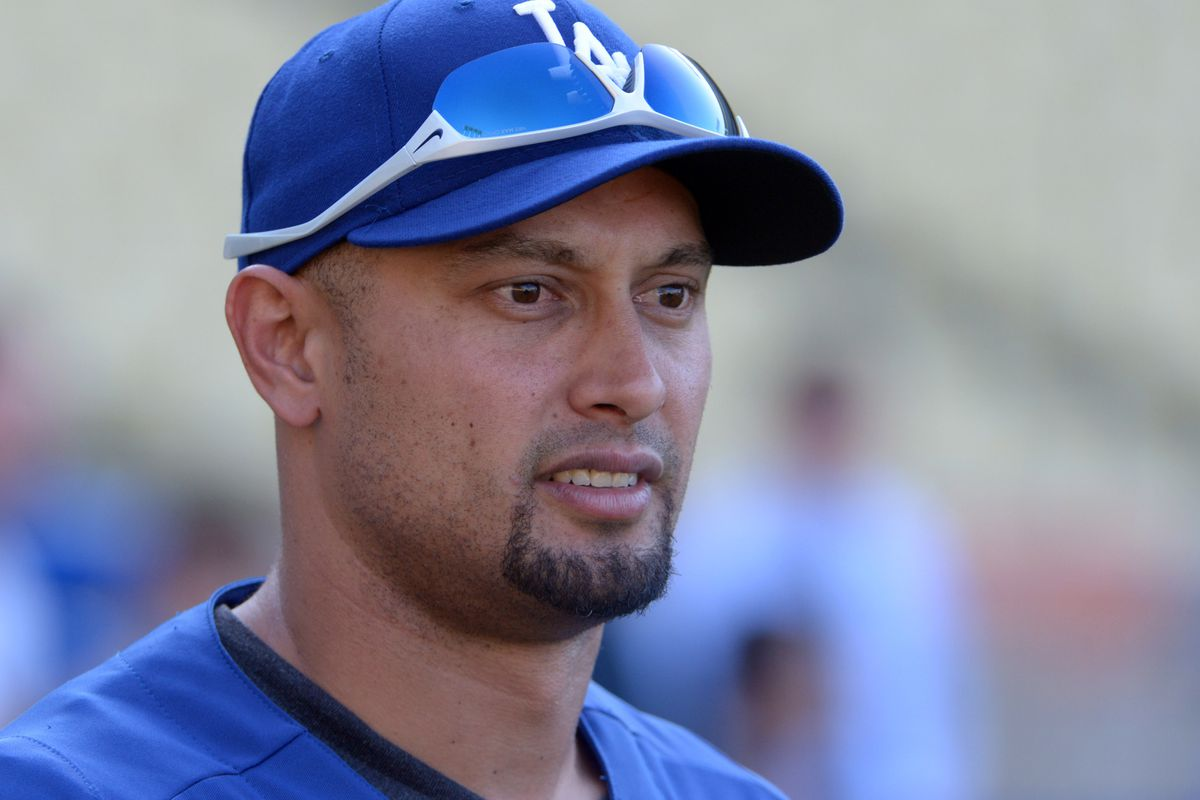 Aug 22, 2012; Los Angeles, CA, USA; Los Angeles Dodgers left fielder Shane Victorino (8) before the game against the San Francisco Giants at Dodger Stadium. Mandatory Credit: Kirby Lee/Image of Sport-US PRESSWIRE