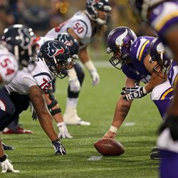 Aug 9, 2013; Minneapolis, MN, USA; A general view of the line of scrimmage between the Minnesota Vikings and Houston Texans at the Metrodome.