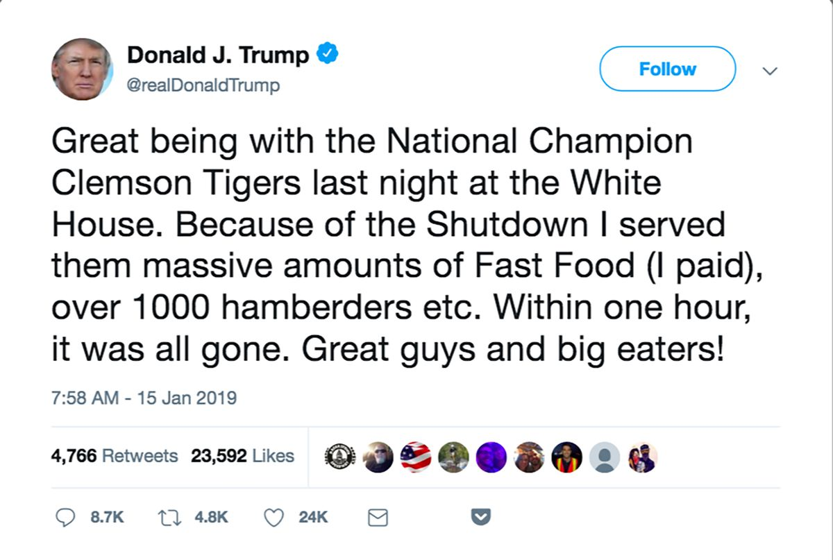 Donald Trump Served McDonald's to Clemson Players at the ...