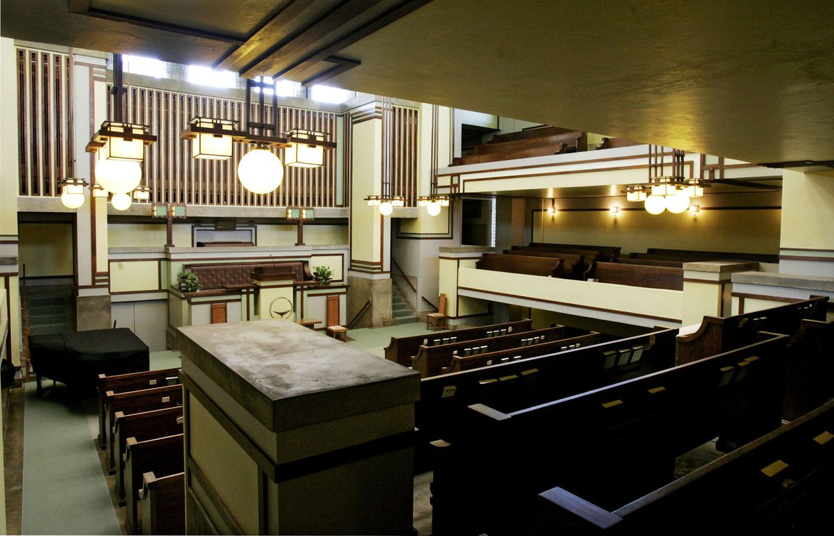 The interior of Frank Lloyd Wright's Unity Temple in Oak Park. The temple has been closed for renovation and restoration, and is set to open later this month. | Associated Press