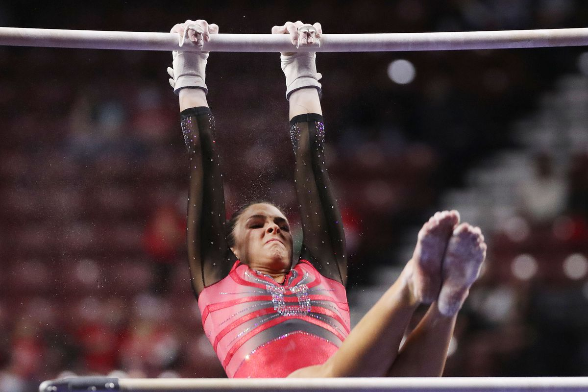 Utah's Emilie LeBlanc competes on the bars during the Rio Tinto Best of Utah NCAA gymnastics meet at the Maverik Center in West Valley City on Saturday, Jan. 9, 2021.