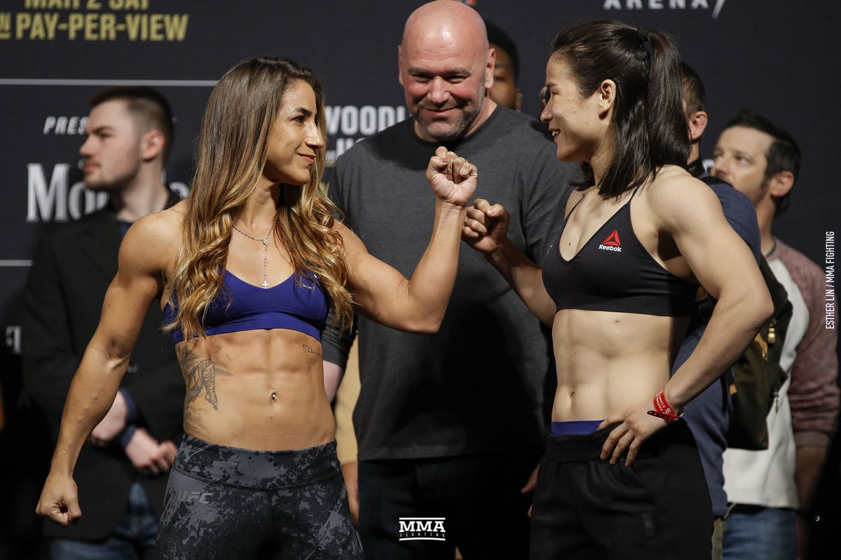 4567b3b7d917b Tecia Torres faces off with Weili Zhang ahead of their strawweight bout at  UFC 235 on Saturday at T-Mobile Arena in Las Vegas Esther Lin