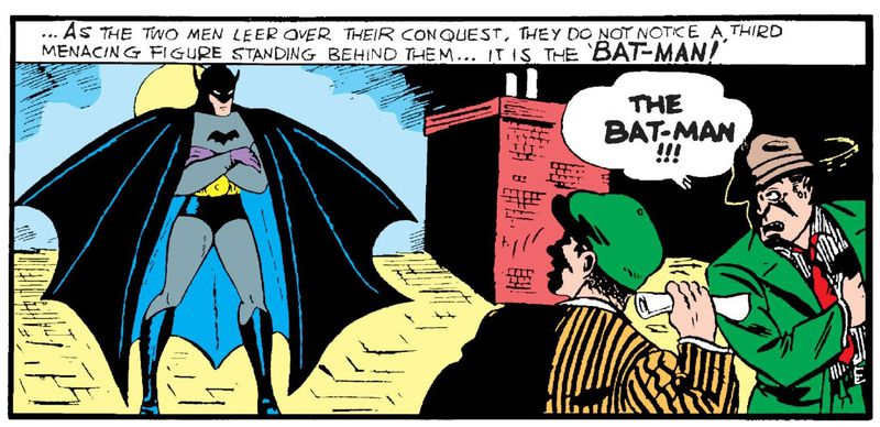 Batman stands on a rooftop, with a scalloped cape and purple gloves, in Detective Comics #27, DC Comics (1939).