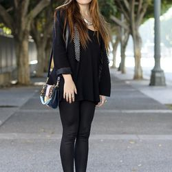 """<a href=""""http://la.racked.com/archives/2011/12/14/janelle_on_9th_street.php"""" rel=""""nofollow"""">Janelle</a> is wearing a Metropark blazer and tank, Zara leggings, Sam Edelman wedges and a bag from Urban Outfitters."""
