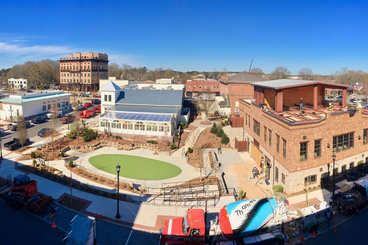A photo of how the rooftop brewery space, at right, will overlook Market Street Park.