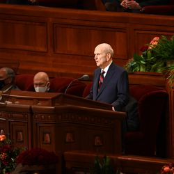 President Russell M. Nelson, president of The Church of Jesus Christ of Latter-day Saints, speaks during the Saturday morning session of the 191st Semiannual General Conference at the Conference Center in Salt Lake City on Oct. 2, 2021.
