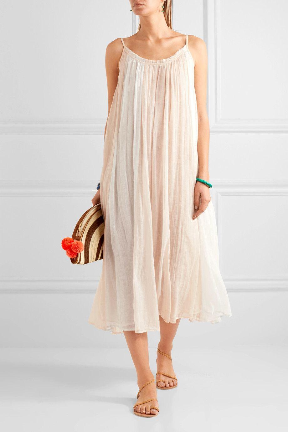 A model wearing a gauzy cotton bag