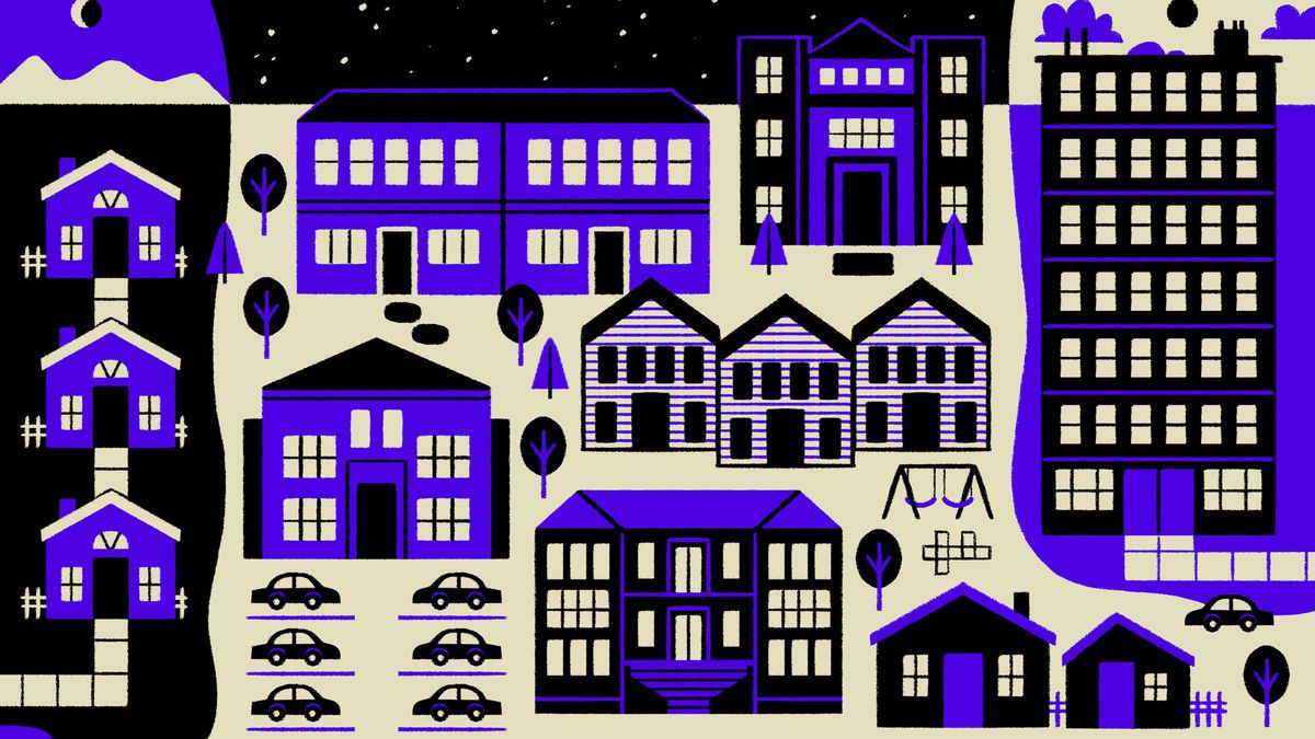 An illustration of single-family homes, duplexes, triplexes, fourplexes, and tall apartments.