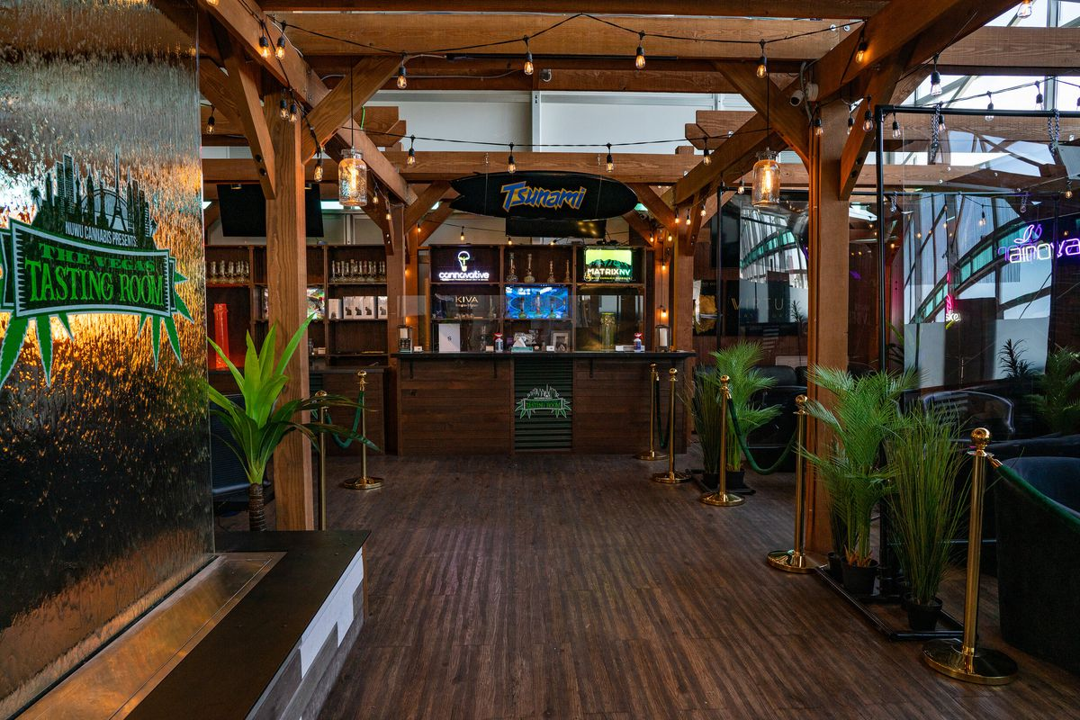the interior of a cannabis consumption lounge in North Las Vegas